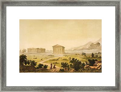 View Of Temples In Paestum At Syracuse Framed Print by Giulio Ferrario