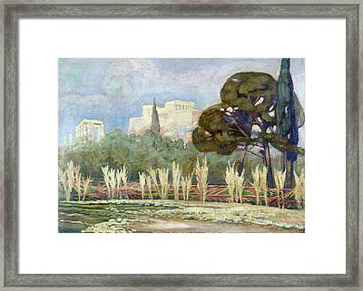View Of The Acropolis Framed Print by Konstantinos Maleas