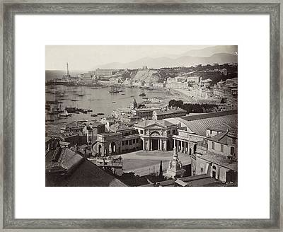 View Of The Bay Of Genoa With A Railway Station Framed Print by Artokoloro