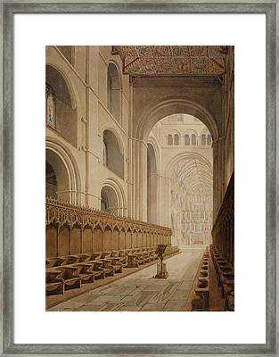 View Of The Choir Of St Alban's Abbey Framed Print by British Library