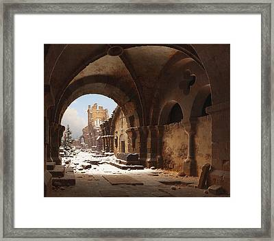 View Of The Church Ruin In Winter Framed Print