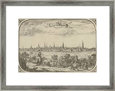 View Of The City Of Hamburg, Germany, Adriaen Oudendijck Framed Print