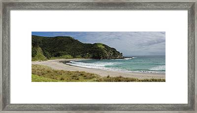View Of The Coastal Beach, Tapotupotu Framed Print by Panoramic Images