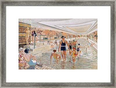 View Of The First Class Swimming Pool Framed Print by French School