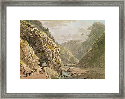 View Of The Galerie Dalgaby Near The Valais Border, 1811 Coloured Engraving Framed Print by Mathias Gabriel Lory