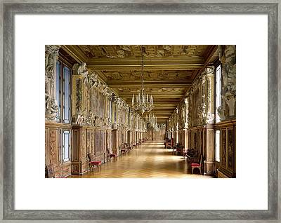 View Of The Galerie Francois I Framed Print by French School