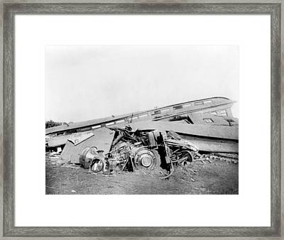 View Of The Great Railroad Wreck Framed Print