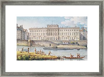 View Of The Hotel Des Monnaies At The Confluence Of The Two Branches Of The Seine  Framed Print by Victor Jean Nicolle