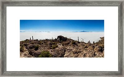 View Of The Isla Del Pescado, Salar De Framed Print