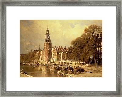 View Of The Kalk Market In Amsterdam Framed Print