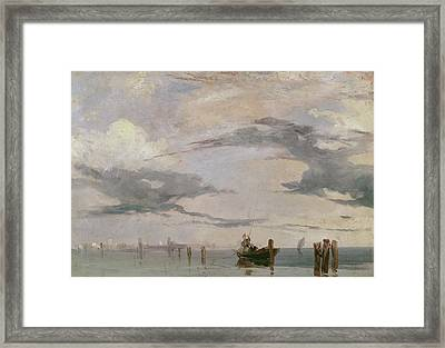 View Of The Lagoon Near Venice, 1826  Framed Print by Richard Parkes Bonington