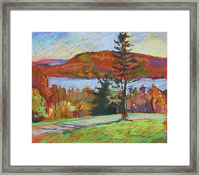 Framed Print featuring the painting View Of The Lake by Linda Novick