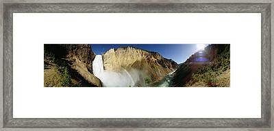 View Of The Lower Yellowstone Falls Framed Print