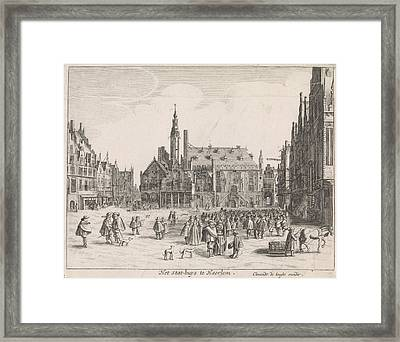 View Of The Market Square With The Town Hall In Haarlem Framed Print