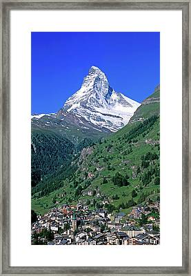 View Of The Matterhorn And The Town Framed Print