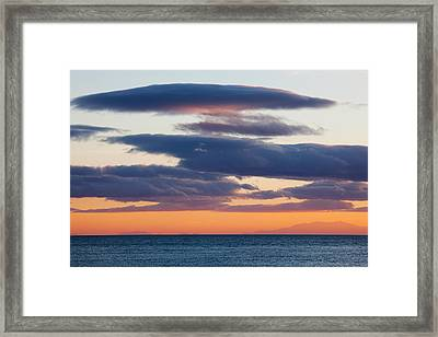 View Of The Mediterranean Sea At Dusk Framed Print by Panoramic Images
