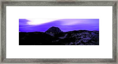 View Of The Morro Rock At Dusk, Morro Framed Print