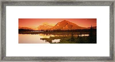 View Of The Mt Rundle, Banff National Framed Print