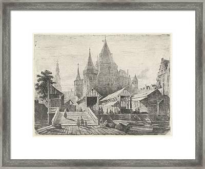 View Of The Nieuwmarkt In Amsterdam, The Netherlands Framed Print by Lambertus Hardenberg