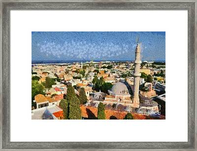 View Of The Old City Of Rhodes Framed Print by George Atsametakis