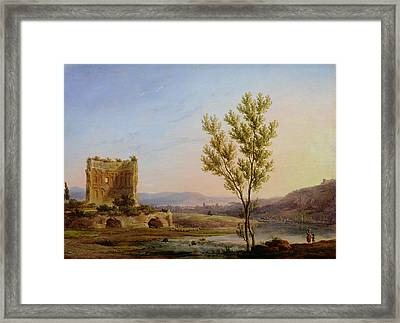 View Of The Outskirts Of Rome Oil On Canvas Framed Print by Pierre Henri de Valenciennes
