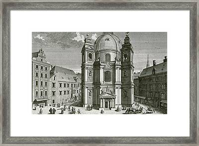View Of The Peterskirche, Vienna Engraved By Johann Bernard Hattinger Framed Print