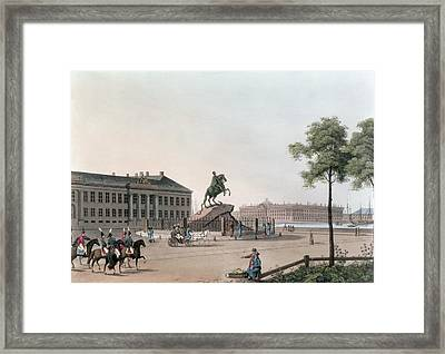 View Of The Place Of Peter The Great Framed Print