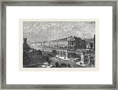 View Of The Proposed High Level Road Or Viaduct From St Framed Print by Marrable, Madeline F. Cockburn (?-1916), British