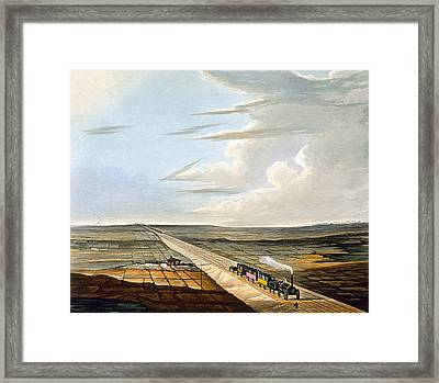 View Of The Railway Across Chat Moss Framed Print by Thomas Talbot Bury