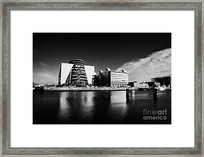 View Of The River Liffey And The Convention Centre Dublin Republic Of Ireland Framed Print by Joe Fox