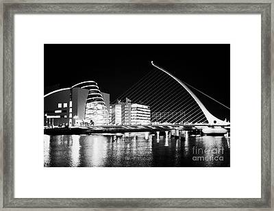View Of The Samuel Beckett Bridge Over The River Liffey And The Convention Centre Dublin At Night Du Framed Print by Joe Fox
