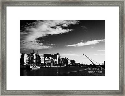 View Of The Samuel Beckett Bridge Over The River Liffey And The Convention Centre Dublin Republic Of Framed Print by Joe Fox