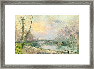 View Of The Seine Paris Framed Print by Albert Charles Lebourg