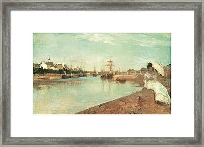 View Of The Small Harbor Of Lorient Framed Print by Berthe Morisot