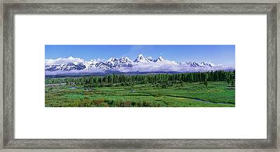 View Of The Teton Range And The Snake Framed Print