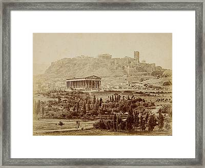 View Of The Theseion With The Acropolis In The Distance Framed Print by Petros Moraitis