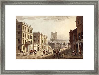 View Of The Town Hall, Market And Abbey Framed Print by John Claude Nattes