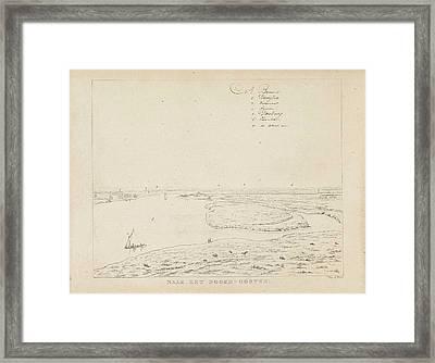 View Of The Waal Northeast Of Nijmegen, Derk Anthony Van De Framed Print by Derk Anthony Van De Wart
