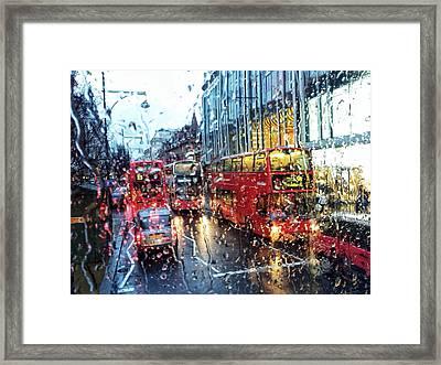 View Of Traffic Through Wet Window Framed Print by Silvia Michelucci / Eyeem