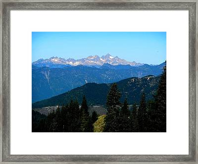 View Of Twin Sisters From Sauk Mountain Framed Print by Karen Molenaar Terrell