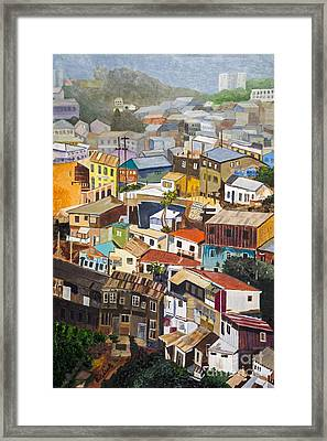 View Of Val Pariso Chile By Stan Bialick Framed Print by Sheldon Kralstein