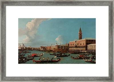 View Of Venice With The Doge Palace And The Salute Framed Print by Canaletto
