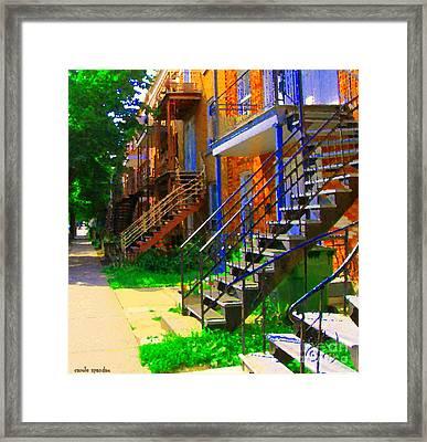 View Of Verdun Steps Stairs Staircases Winding Through Summer  Montrealstreet Scenes Carole Spandau Framed Print by Carole Spandau