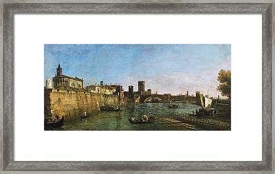 View Of Verona With The Castelvecchio And Ponte Scaligero Framed Print