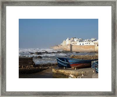 View Of Wall Around Medina With Waves Framed Print