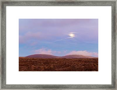 View Of War Hill And Djouce Mountain At Moonrise Framed Print by Semmick Photo