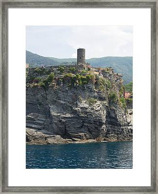 View Of Watchtower At Vernazza, La Framed Print by Panoramic Images