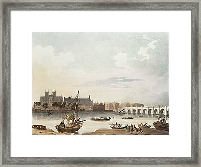 View Of Westminster And The Bridge Wc On Paper Framed Print by English School