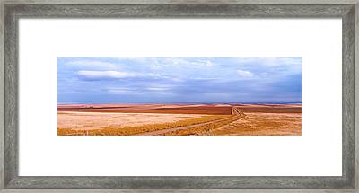 View Of Wheat Fields, Carter, Chouteau Framed Print by Panoramic Images