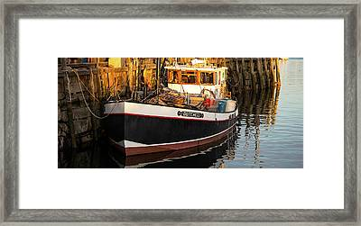 View Of Yacht Moored At Pier, Rockland Framed Print